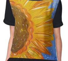 Sunflower Painted Half Chiffon Top
