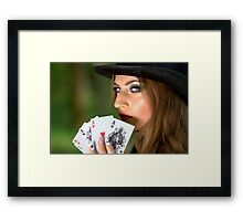 Professional poker woman Framed Print