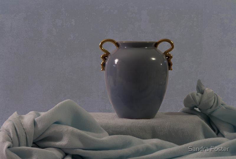 Blue Vase And Damask by Sandra Foster
