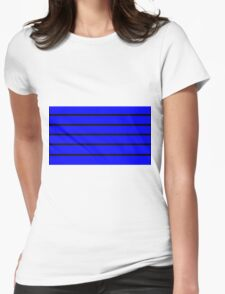 Blue - Black Lines Womens Fitted T-Shirt