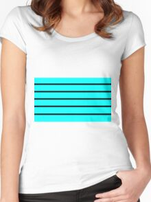 Cyan - Black Lines Women's Fitted Scoop T-Shirt