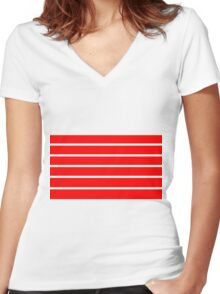 Red - White Lines Women's Fitted V-Neck T-Shirt