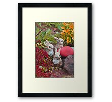 bunnies collecting colors for Easter * Framed Print