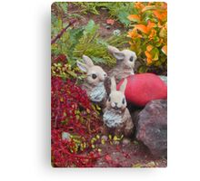 bunnies collecting colors for Easter * Canvas Print