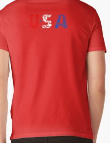 U S A Mens V-Neck T-Shirt