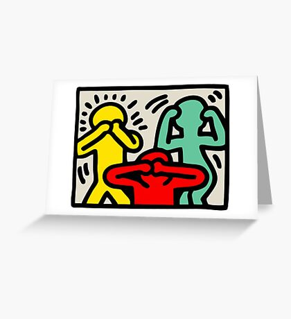 Keith Haring 3 Monkey Greeting Card