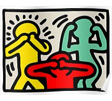 Keith Haring 3 Monkey Poster