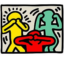 Keith Haring 3 Monkey Photographic Print
