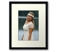 Blonde girl wearing a white dress near lake Framed Print