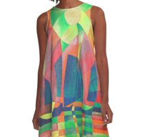 Sea of Green With Cubist Abstract Junks A-Line Dress
