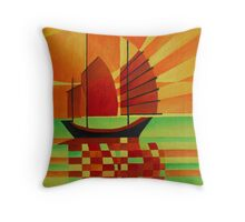 Junk on Sea of Green Cubist Abstract Throw Pillow