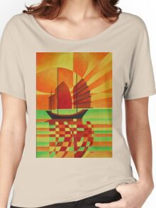 Junk on Sea of Green Cubist Abstract Women's Relaxed Fit T-Shirt