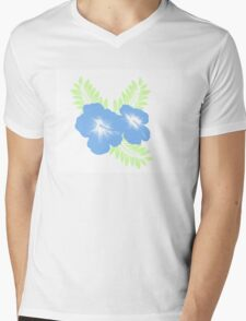 Blue and Green Floral Mens V-Neck T-Shirt