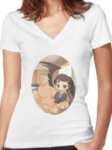 Chibi Castiel Women's Fitted V-Neck T-Shirt
