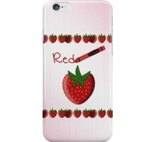 Red Crayon with Strawberry iPhone Case/Skin
