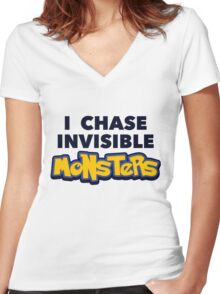 Pokemon Go I Chase Invisible Monsters Women's Fitted V-Neck T-Shirt