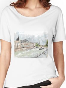 Paris Seine with Eiffel Tower Women's Relaxed Fit T-Shirt
