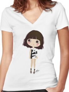 She's not sexy, she has attitude! Women's Fitted V-Neck T-Shirt
