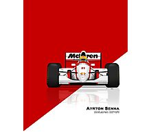 Ayrton Senna - McLaren MP4/8 Red & White Photographic Print