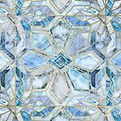 Geometric Gilded Stone Tiles in Soft Blues by micklyn