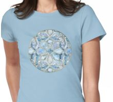 Geometric Gilded Stone Tiles in Soft Blues Womens Fitted T-Shirt