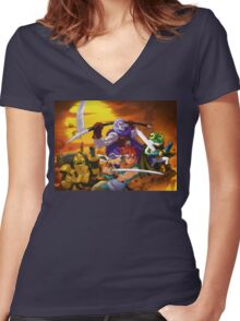 Chrono Figther Women's Fitted V-Neck T-Shirt