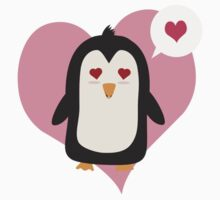 Penguin with a heart   Kids Tee