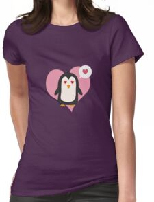 Penguin with a heart   Womens Fitted T-Shirt