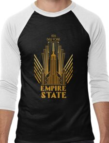 The Empire State Building in art deco style, NY Men's Baseball ¾ T-Shirt