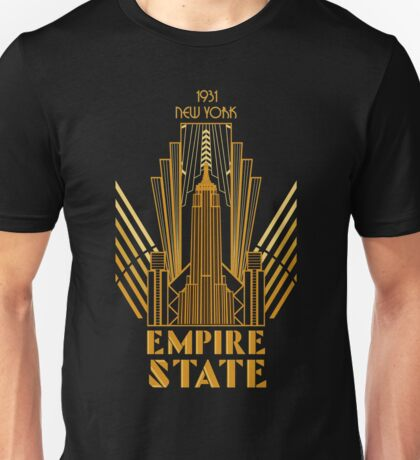 The Empire State Building in art deco style, NY Unisex T-Shirt