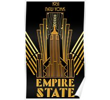 The Empire State Building in art deco style, NY Poster