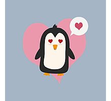 Penguin with a heart   Photographic Print