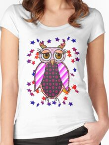 Owl bird exotic  Women's Fitted Scoop T-Shirt