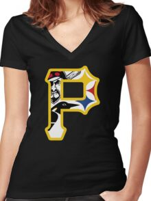 Pride of Pittsburgh  Women's Fitted V-Neck T-Shirt
