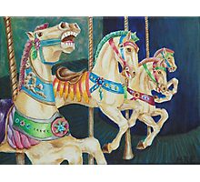 Galloping Carousel Horses  Photographic Print