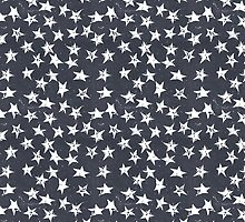 Linocut Stars - Navy & White by Tracie Andrews