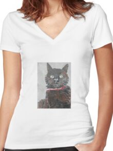 Black Cats are Best Women's Fitted V-Neck T-Shirt