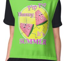 Cute Pink Water Melon Funny Novelty Summer Sun Graphic Design Chiffon Top
