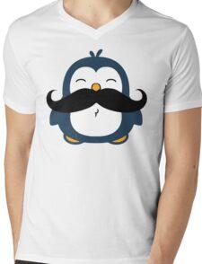 Mustache Penguin Mens V-Neck T-Shirt