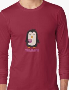 Penguin with a Doughnut   Long Sleeve T-Shirt