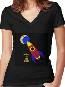 ROCKET TO THE MOON Women's Fitted V-Neck T-Shirt