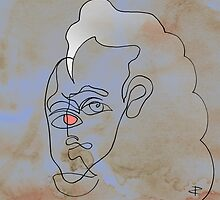 squigglehead with pink eye and white hair - drawing by Paul Davenport