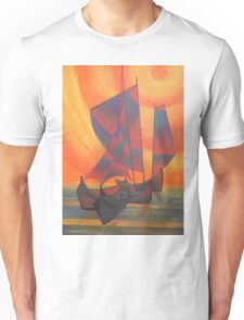 Red Sails in the Sunset Cubist Junk Abstract Unisex T-Shirt