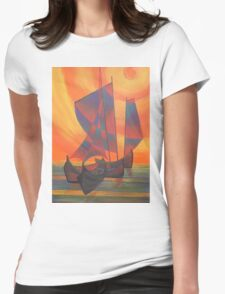 Red Sails in the Sunset Cubist Junk Abstract Womens Fitted T-Shirt