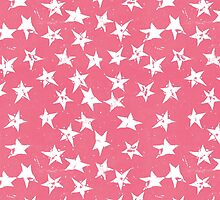 Linocut Stars - Blush & White by Tracie Andrews