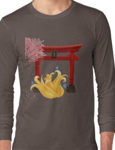 Ninetails under the Moonlight - Sakura Tree Version Long Sleeve T-Shirt