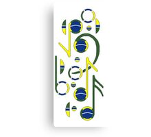 Brazil Flag Musical Notes Canvas Print