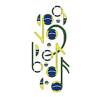 Brazil Flag Musical Notes Photographic Print
