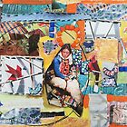 """Women Working"" Colorful Layered Mixed Media Collage by Express Yourself Artshop"