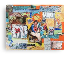 """Women Working"" Colorful Layered Mixed Media Collage Canvas Print"